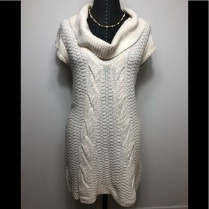 Express Cable Knit Cowl Neck Tunic